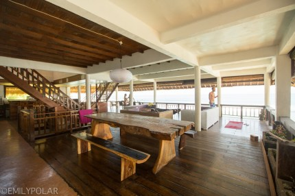 Interior of an amazing beach house on the shores of Bingin Beach, Bali.