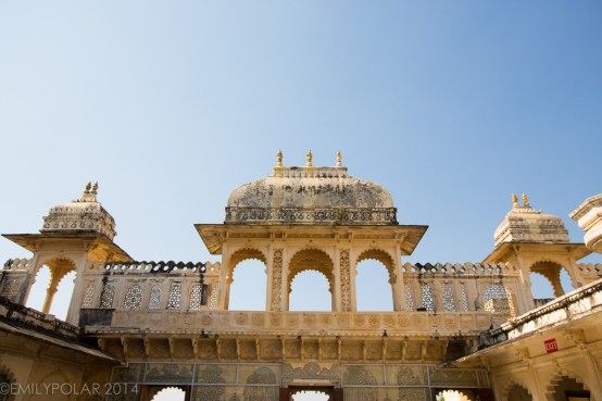 City palace in Udaipur with windows and doorways.