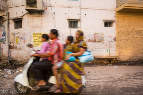 Whole family on a scooter buzzing down the streets of Jodhpur, Rajasthan.