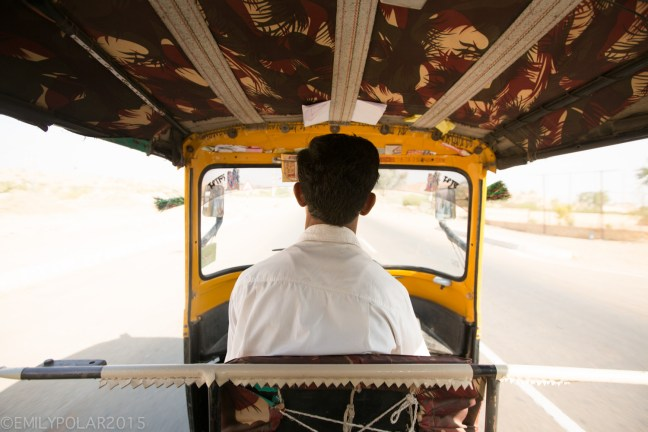 Point of view of rickshaw drivers in the streets of Jaisalmer, India.