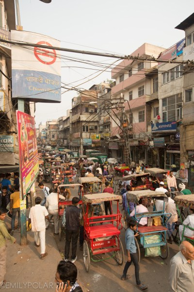 Tons of traffic and rickshaws fill the streets of Old Delhi at Chawri Bazar, Old Delhi.