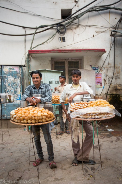 Indian men selling Panipuri on the streets in Amritsar.