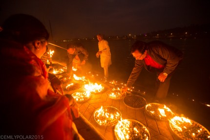Fire ceremony along the Ganges at night in Rishikesh, India.