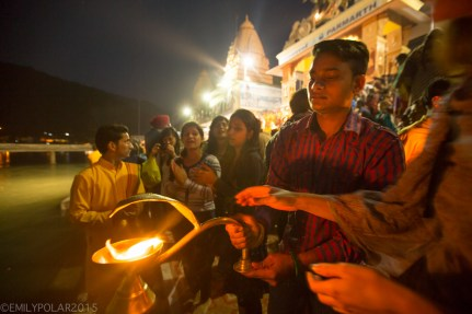 Burning flames and candles at a Hindu ceremony along the Ganges in Rishikesh, India.