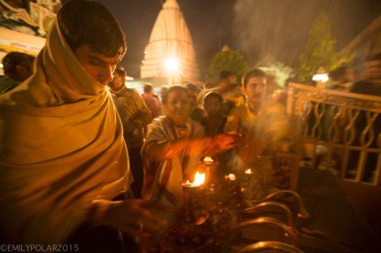 Burning flames at nightly ceremony along the Ganges in Rishikesh, India.
