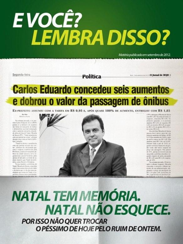 Manchete do Jornal de Hoje diz que Carlos Eduardo aumentou passagem de ônibus seis vezes