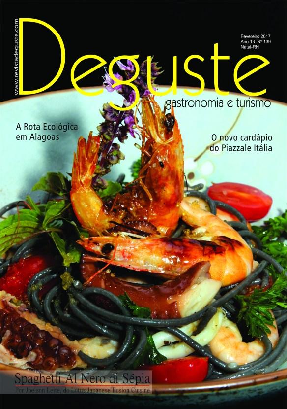 Capa da edição de fevereiro 2017 da Revista DEGUSTE - Gastronomia e Turismo