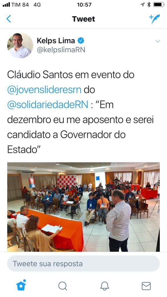 Deputado Kelps reproduziu no twitter declaração de Cláudio Santos