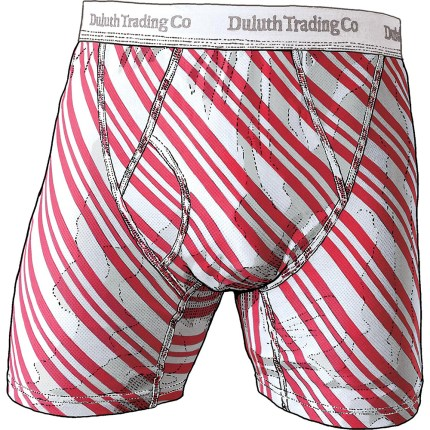 #76715 Men's Buck Naked Candy Cane Striped Boxer Briefs