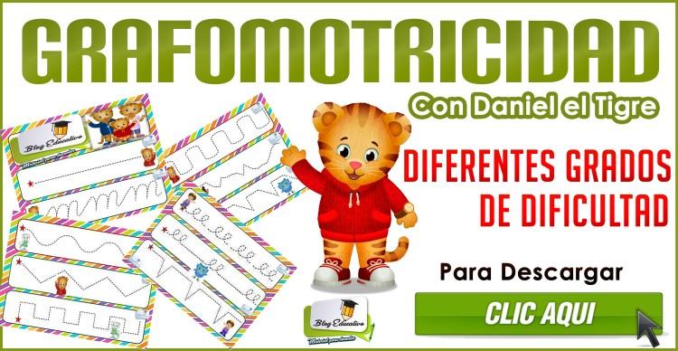 Grafomotricidad con Daniel el Tigre - Diferentes grados de dificultad