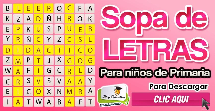 Sopa de letras para niños de primaria - Blog Educativo