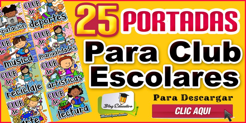 25 Portadas para club escolares gratis - Blog Educativo