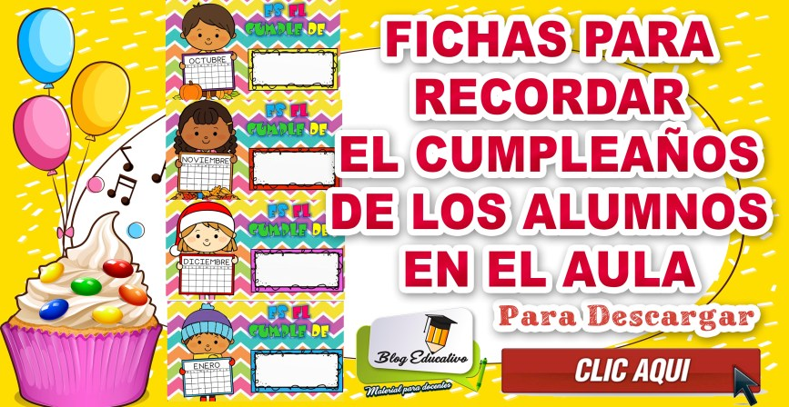 Fichas para recordar el cumpleaños de los alumnos en el aula