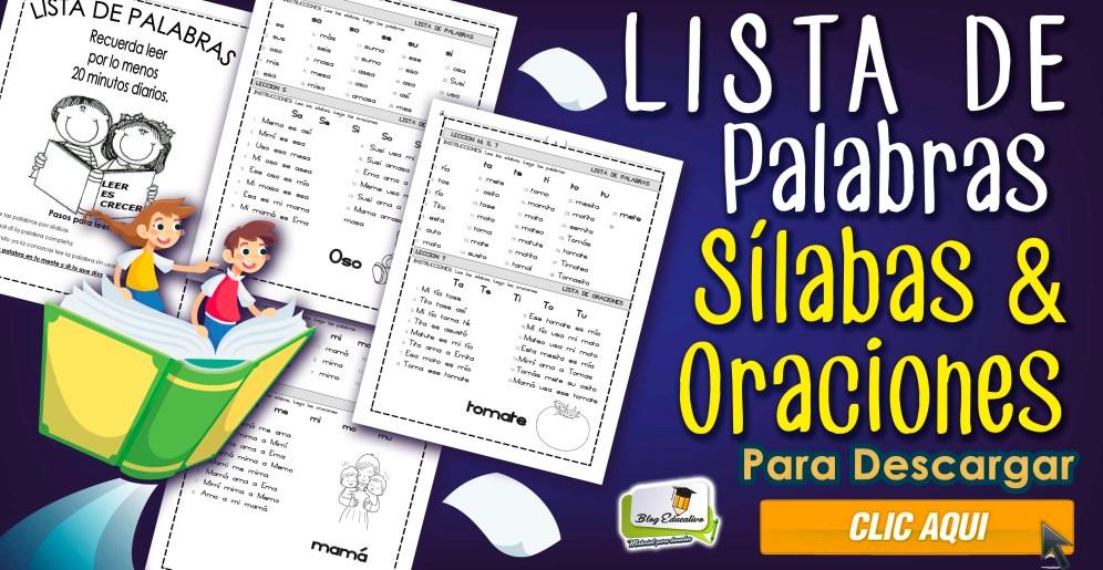 Lista de Palabras - Silabas y Oraciones - Blog Educativo