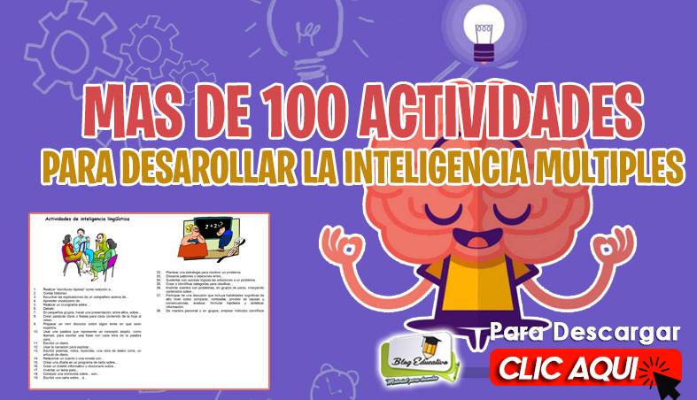 Inteligencia Múltiple mas de 100 Actividades - Blog Educativo