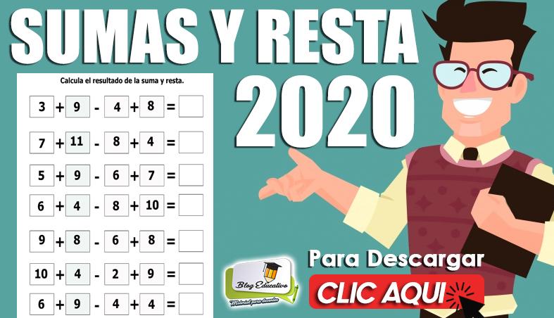 Suma y Resta 2020 gratis para niños - Blog Educativo
