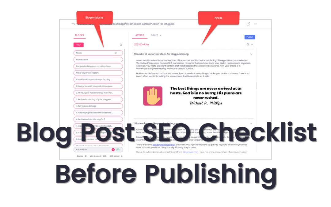 SEO Blog Post Checklist Before Publishing for Bloggers