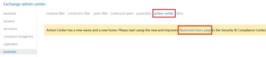 Office 365 Action Center Image