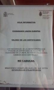 Validez certificados registro ciudadano UE