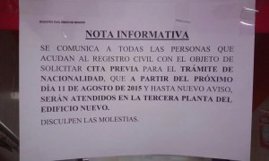Nota informativa Registro Civil Pradillo
