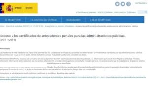 Acceso certificado antecedentes penales Administraciones Públicas