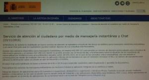 Foto aviso servicio atención al ciudadano Ministerio Justicia por mensajería instantánea y chat