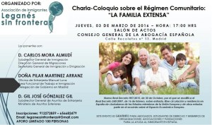Cartel charla familia extensa régimen comunitario 03.03.2016