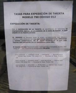 Foto tasas expedición tarjetas Aluche