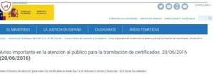 Foto aviso Mjusticia horario certificados