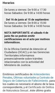 Horario verano MJusticia y aviso 4.6.16