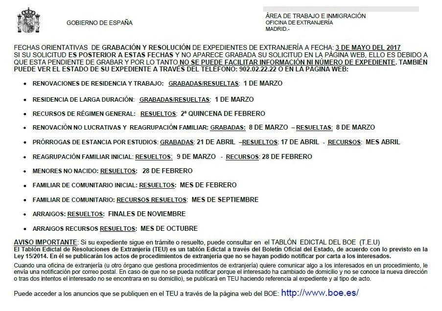 Fechas tramitaci n expedientes extranjer a madrid blog for Oficina extranjeria madrid