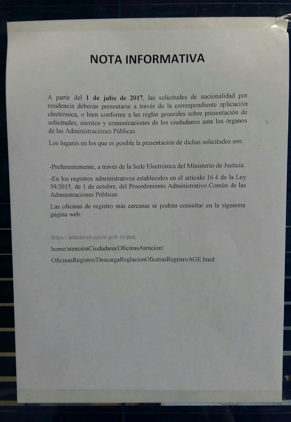 Presentaci n solicitud nacionalidad espa ola por for Oficina registro madrid