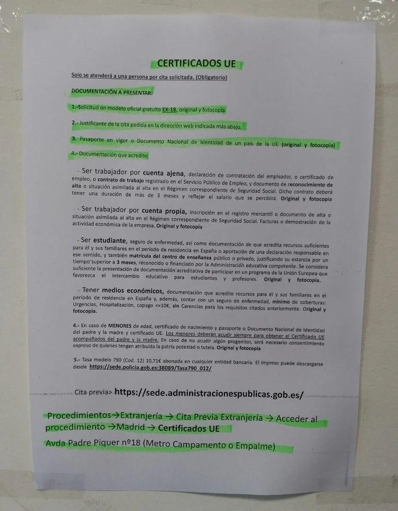 Certificados UE en Madrid - Blog Extranjería Asociación Progestión