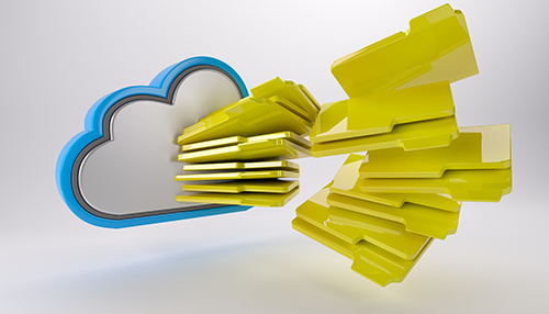3D cloud Drive with files entering on it