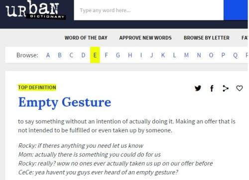 empty gesture