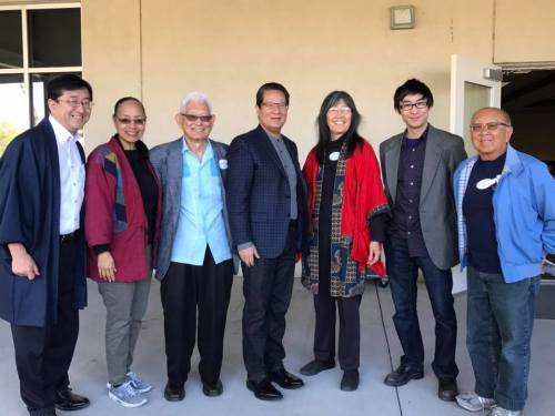L to R: SAJCC Interim Director Yuki Ibuki, Tucson Origami Club founder M Fumie Craig, retired UA Professor Min Yanagihashi, PCC Chancellor Lee Lambert, SAJCC Editor Carolyn Sugiyama Classen, Festival stage manager Suke Nakata, SAJCC founder Ross Iwamoto, photo courtesy of M. Craig