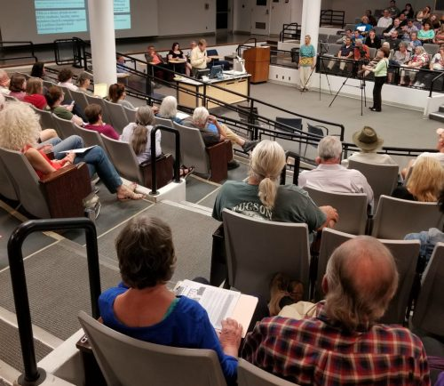 "150 people attended ""Dark Money, Charles Koch, and the UA Freedom Center"" at the University of Arizona."
