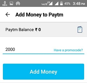 Add Money To Paytm