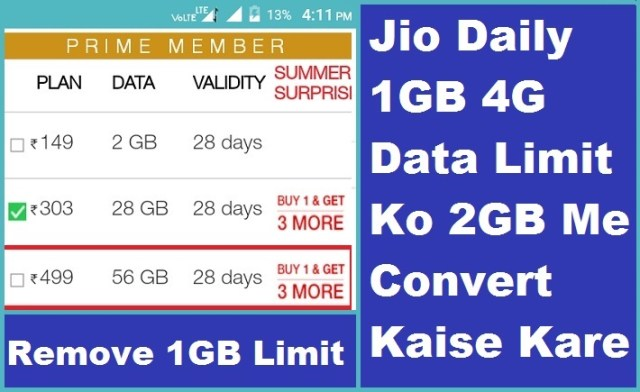 Daily 1GB 4G Data Limit 2GB