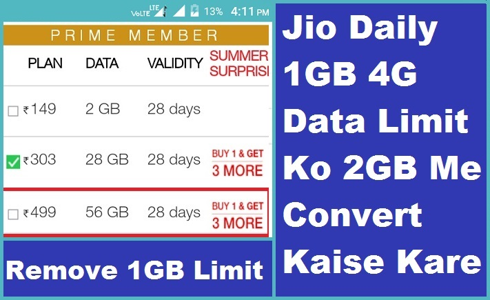 Daily 1GB 4G Data Limit 2GB
