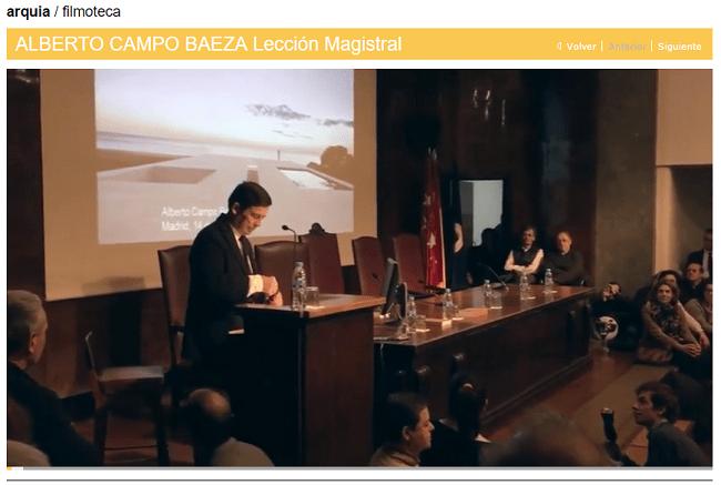 ALBERTO - CAMPO - BAEZA - LECCION - MAGISTRAL - FUNDACION - ARQUIA