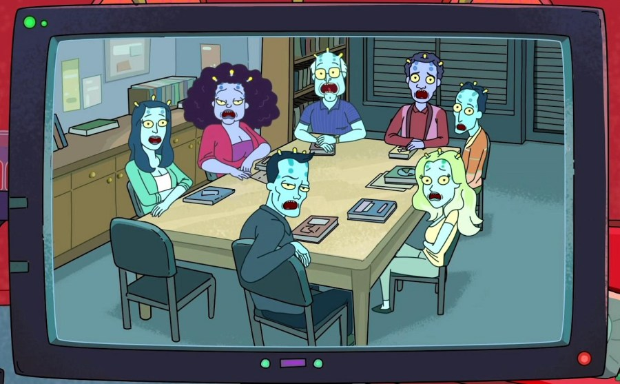 Reference to Community in Rick and Morty, episode 2×04 Self-erotic assimilation
