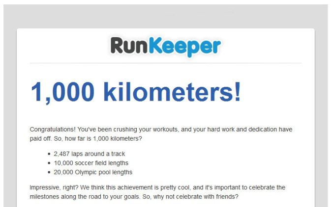 You've logged 1,000 kilometers with Runkeeper