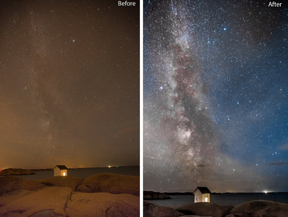 Before and after editing the Milky way in Lightroom