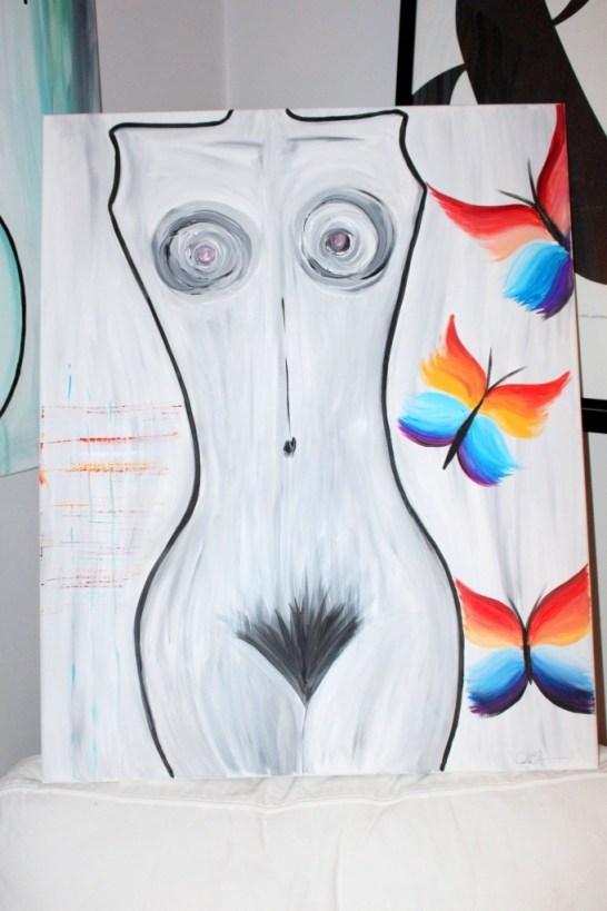 konst_målning_akrylmålning_astrakt_tavla_kvinna_fjäril