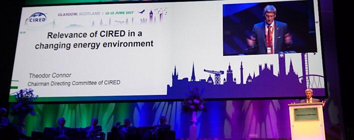 Fra åpningssesjonen: Theodor Connor, Chairman av CIRED Directing committee, taler.