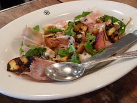 Depot peach and proscuitto salad