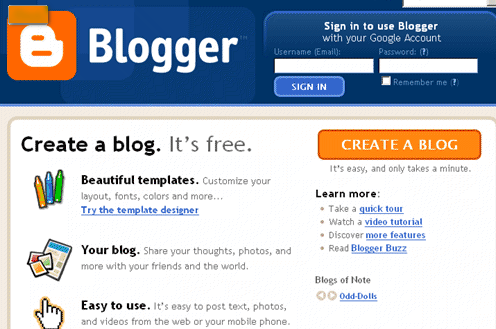 create blog on blogger 1 step