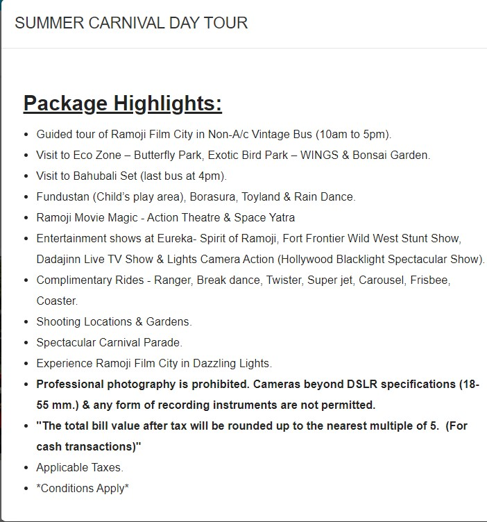summer carnival day tour Ramoji film City Guide,6 Sets photos of Beautiful places.