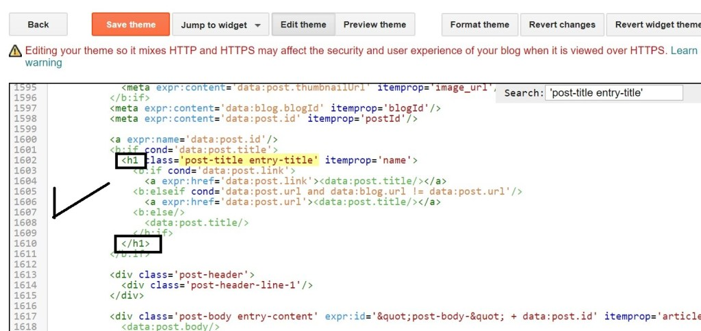 add h1 tag in blogger post title html